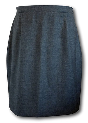 Traditional Wool Worsted Grey Straight School Skirt - 34