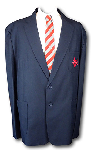 Navy 2 Button Polyester Blazer With Pocket Badge 54