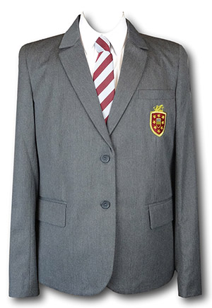 Girls Grey 2 Button Tailored Polyester Blazer With Maroon Pocket Badge 36