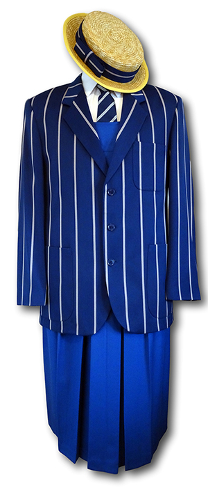 Complete Girls Traditional School Uniform With Royal Blue & Silver Venetian Stripe Blazer & Boater