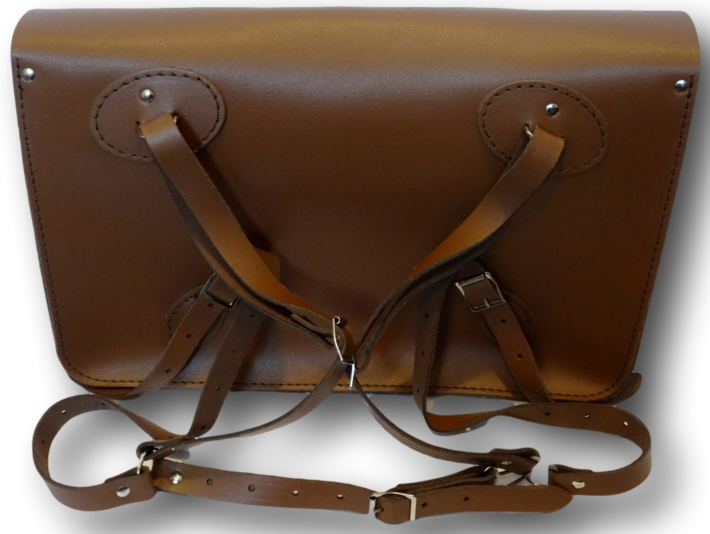 Brown Leather School Satchel With Front Pockets & Shoulder Fastenings
