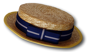 Traditional Girls Straw Boater With Royal Blue & Silver Hat Band
