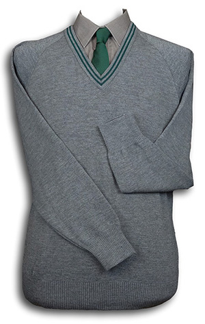 Grey 'V' Neck WOOLLEN School Uniform Jersey With Bottle Trim