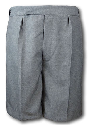 Classic School Grey Wool Worsted Short Trousers With Button Fly, Tunnel Top & Side Adjusters