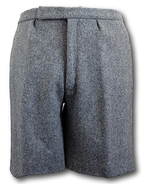 Grey Wool Flannel Short Trousers With An Elasticated Back & Cotton Lining. 46