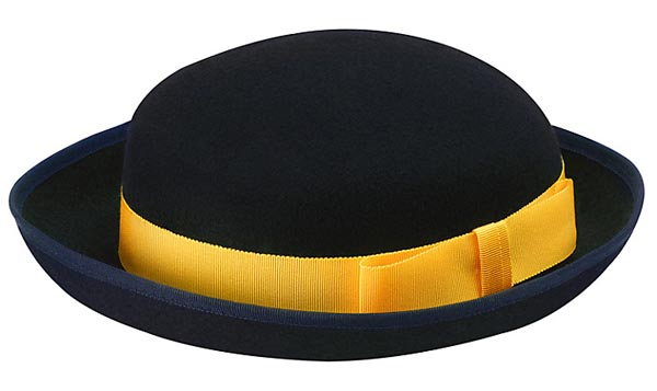 Traditional Girls Navy Felt Hat With Yellow Hat Band. Size 7 1 4 Or ... 793854946db