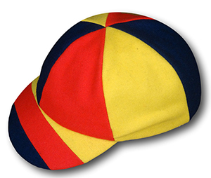 The 'Douglas Jardine'  Harlequin Cap In Red Yellow & Navy