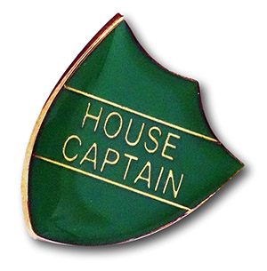 Green 'House Captain' Metal Shield Badge By 'Fattorini
