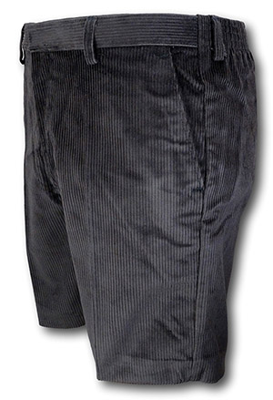 Gunmetal Grey 'Classic' Corduroy Short Trousers With An Elasticated Back By 'David Luke'