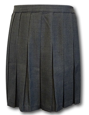 Traditional Wool Worsted Grey Box Pleat School Skirt - 32