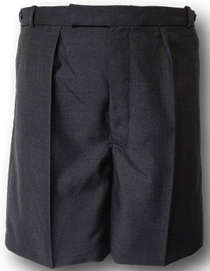 Grey Wool Worsted Short Trousers With Button Fly, Tunnel Top & Side Adjusters.