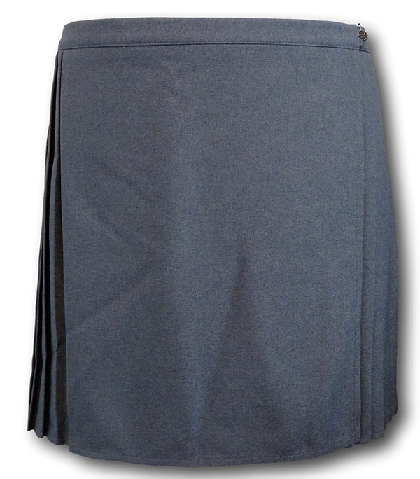 5146610bce Grey pleated p.e. skirt. Rear view. Wrap around style.