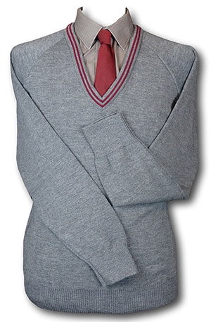 Grey 'V' Neck WOOLLEN School Uniform Jersey With Maroon Trim