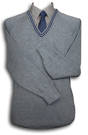 Grey 'V' Neck WOOLLEN School Uniform Jersey With Navy Blue Trim