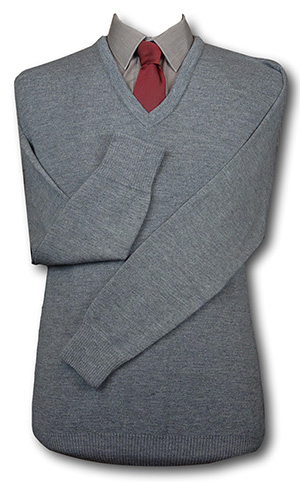 Grey 'V' Neck WOOLLEN School Uniform Jersey With No Trim