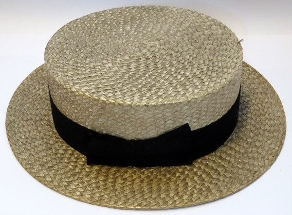 Black Straw Hat Straw Boater With Black Band