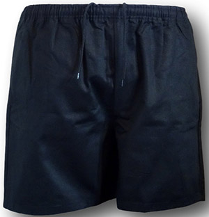 Traditional Black 100% Cotton Twill P.E. & Games Shorts