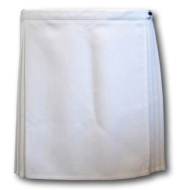 c1442d7d73 White pleated p.e. skirt. Rear view. Wrap around style.