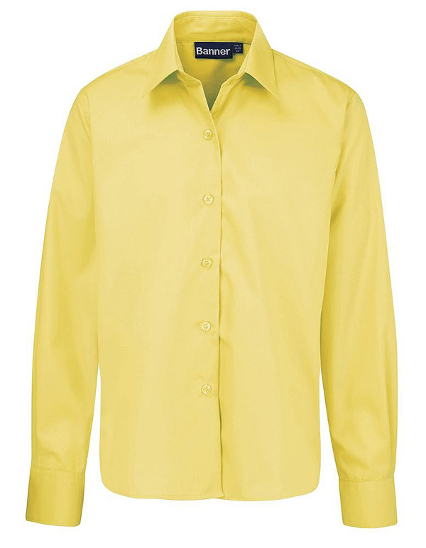 Yellow Short Sleeve School Blouses 50